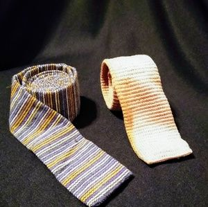 2 vintage square ended men's neckties
